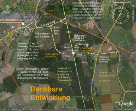 Trassenplanung Autobahnauffahrt Schwerin-Süd