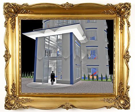 Parkplatz / Eingangsbereich / Bürotürme / Entwurfsplanung Ing. Goebel