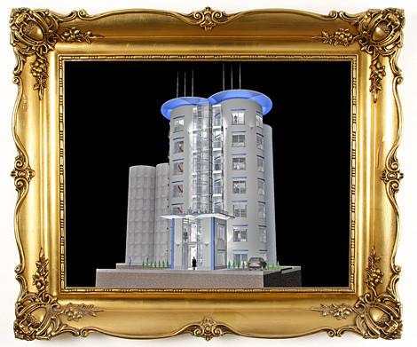 Vergleichsbild. Alte Silos und neue Bürotürme