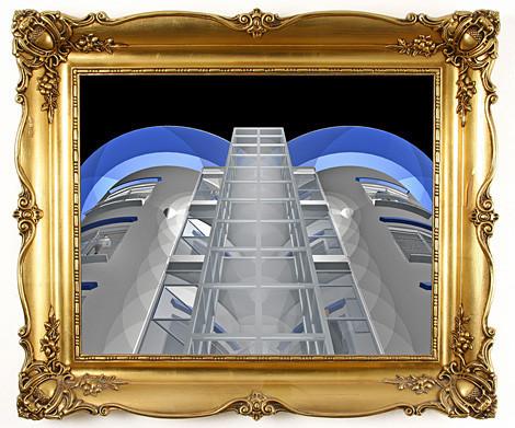 Blick von unten am Gebäude hoch zum Dach.