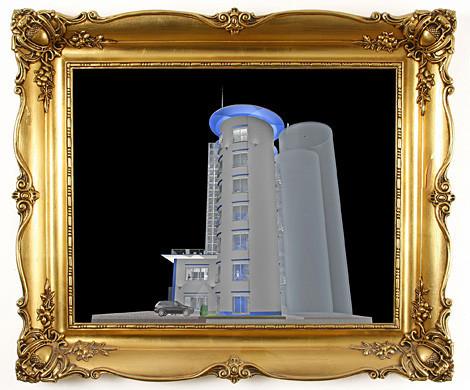 Seitenansicht Bürotürme auf Basis alter Getreidesilos.
