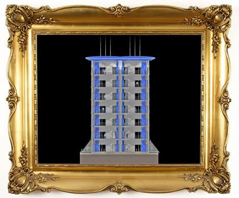 Schnitt durch das 3D Modell. Büroflächen zu bauen / zu vermieten / zu verkaufen.