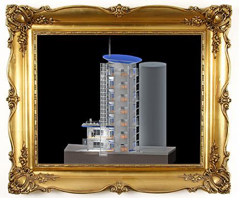 Schnitt durch die Seitenansicht des 3D Modells. Moderne Bürotürme bei München 960 qm zu vermieten.