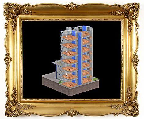 Bürotürme im Schnitt. 3D Modell mit offenen Wänden zur Entwurfsprüfung