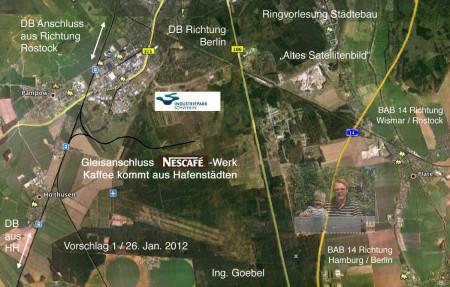 Vorschlag Gleisanschluss Nestlé Nespresso Werk Industriepark-Schwerin