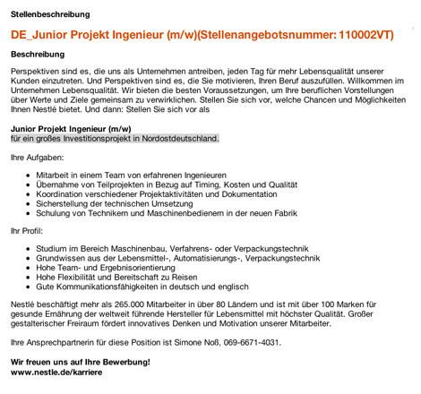 Stellenangebote Junior Projektingenieur Nordostdeutschland