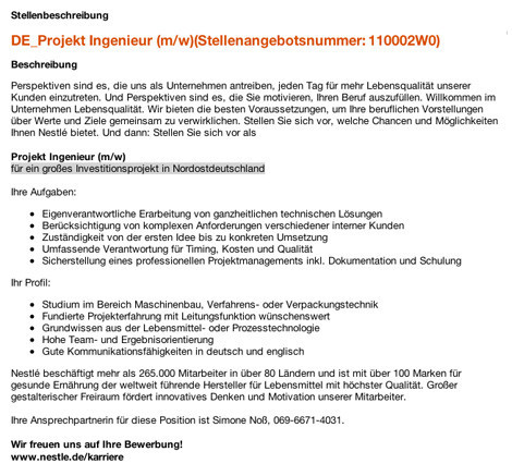 Stellenangebot Nestlé Projekt Ingenieur Nordostdeutschland