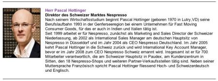 Pascal Hottinger Nespresso Direktor Schweiz hat Deutschlanderfahrung.