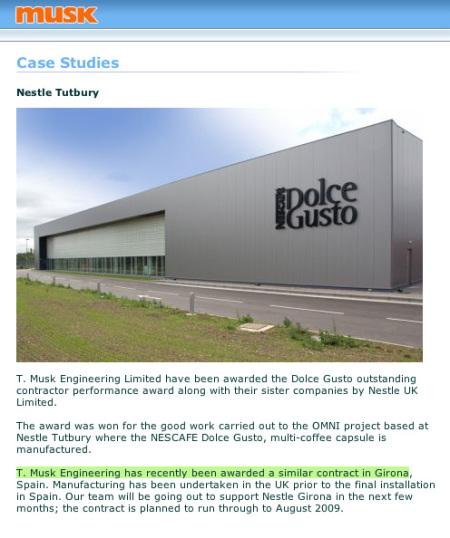 Blick auf die Fassade Nestlé Dolce Gusto Werk Tutbury/England