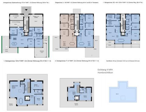 Zweispänner, Attikawohnung, Gartenwohnung, Etagenwohnung