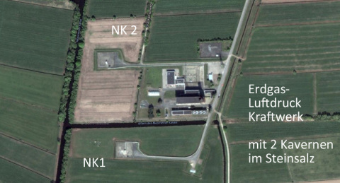 Power Plant near Huntorf owned by Eon Hannover - got 2 cavernes in saltstone geology