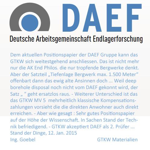 Kommission Endlager Bundestag Hinweise zum DAEF Positionspapier
