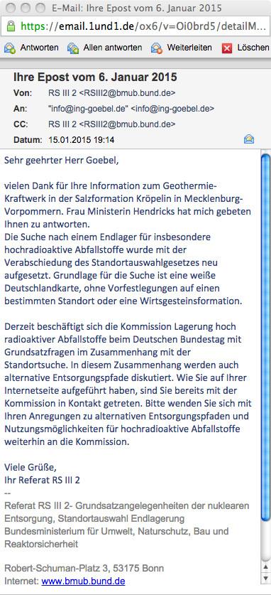 Frau Bundesministerin Hendricks zu Fragen der Endlagerung des wärmeentwickelnden Atommülls