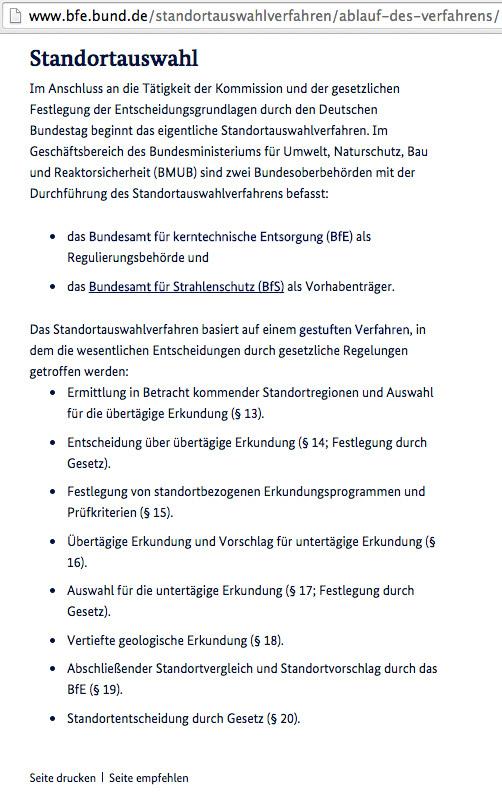 Der Weg zum Endlager - gesetzlich geregelt vom BfE - ab Ende Kommission Endlager