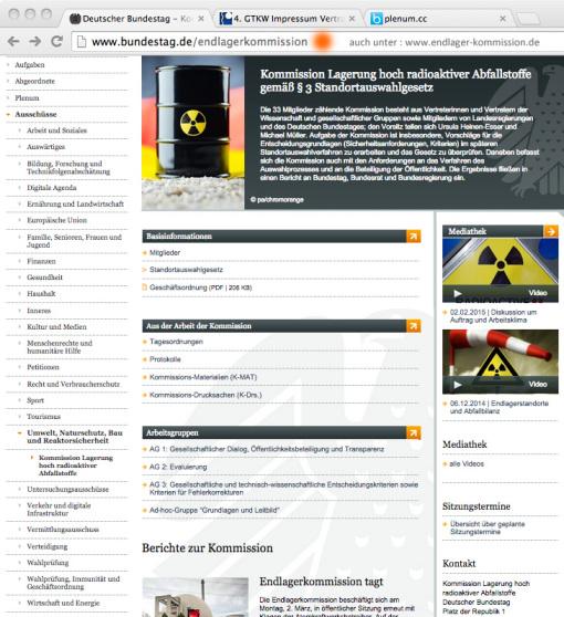 Hinweis an die Kommission Endlagerung von hoch radioaktivem Atommüll