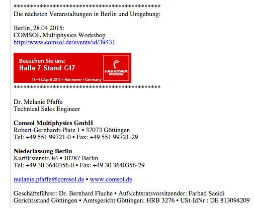 Hinweis an die Kommission Lagerung wo wir Software kaufen Comsol für Endlager GTKW
