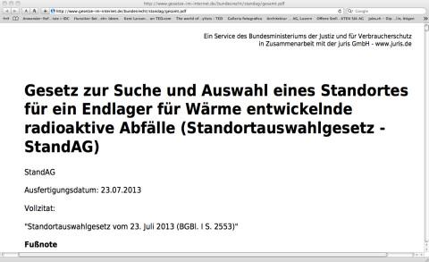Hinweis an die Kommission Lagerung hoch radioaktiver Abfallstoffe / Bundestag