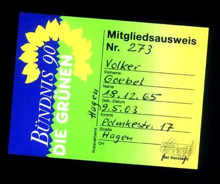 Parteiausweis aDie Grünen / Volker Goebel Dipl.-Ing. FH / Architekt