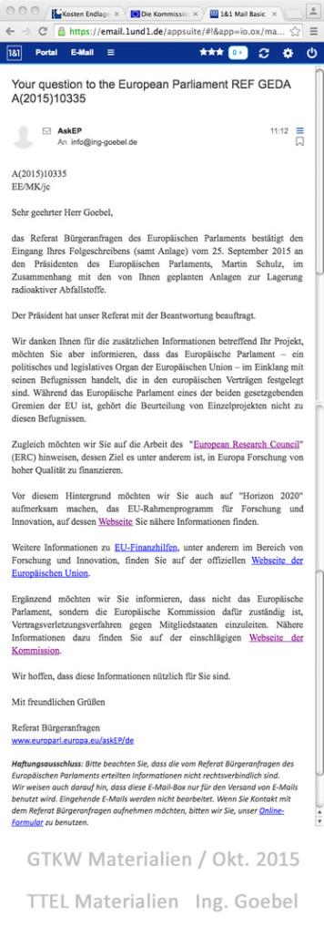 Hinweis an Ing. Goebel und die Kommission Endlagerung und alle weiteren Verantwortllichen