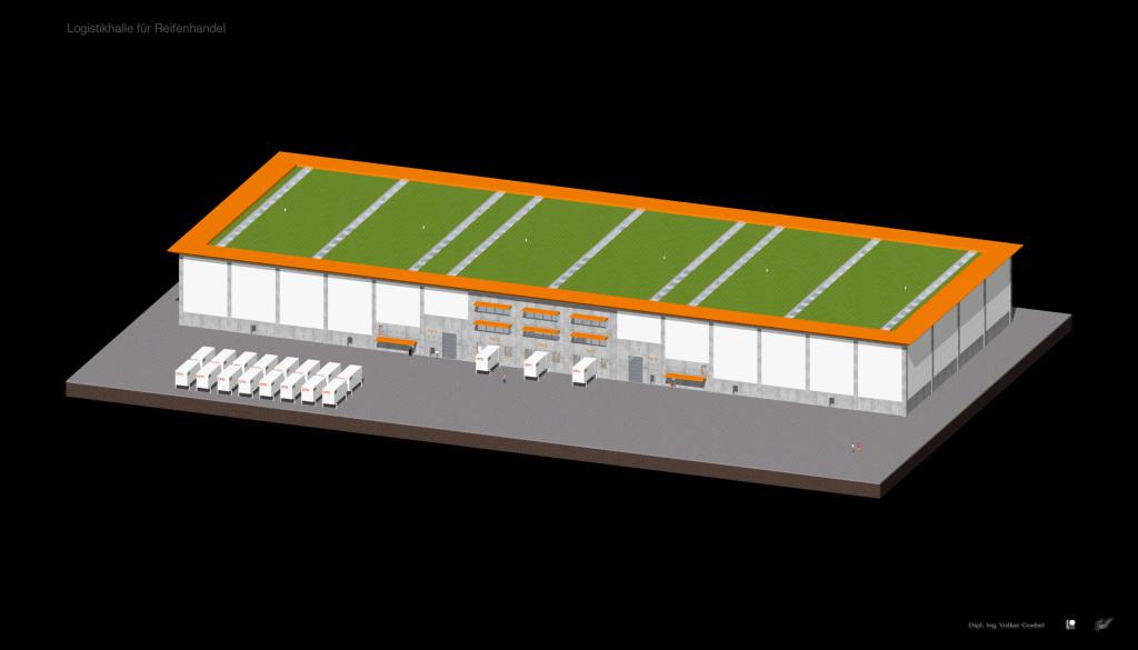 Logistikhalle in Stahlbeton Bauweise mit Porenbeton Ausfachung / Warmhalle für Reifenhandel AR-01
