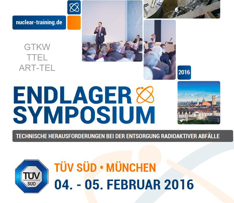 Endlager Symposium TÜV SÜD München 4.02.2016 und 5.02.2016