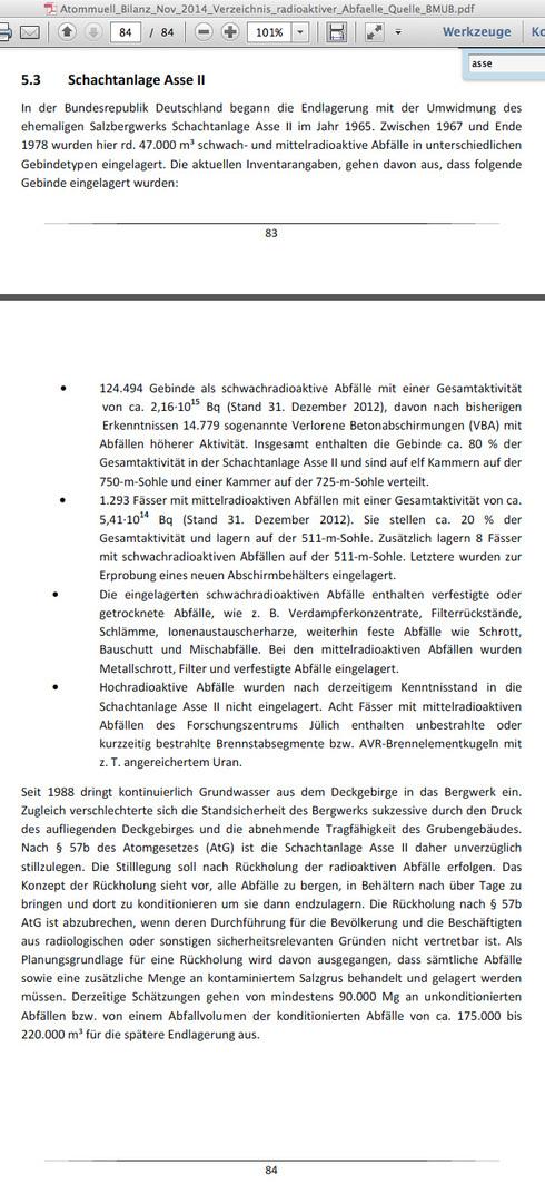 Auszug Asse in der Atommüll Bilanz der BRD Nov. 2014 - auch ein aktuelles Papier - immerhin wird hier mal die Gesamt-Aktivität thematisiert - gut so ...