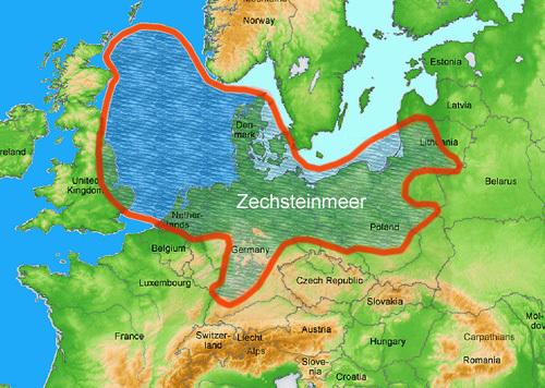 Ausdehnung Zechsteinmeer / ausgetrocknetes Urmeer in Nordeuropa