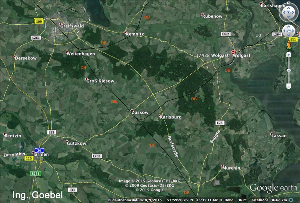 Standort ART-TEL ENDLAGER süd-westlich von Wolgast im Diapier Möckow