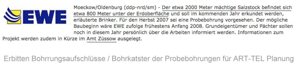 EWE hat Daten aus Probebohrungen Steinsalz Diapier Moeckow / M-V / BRD