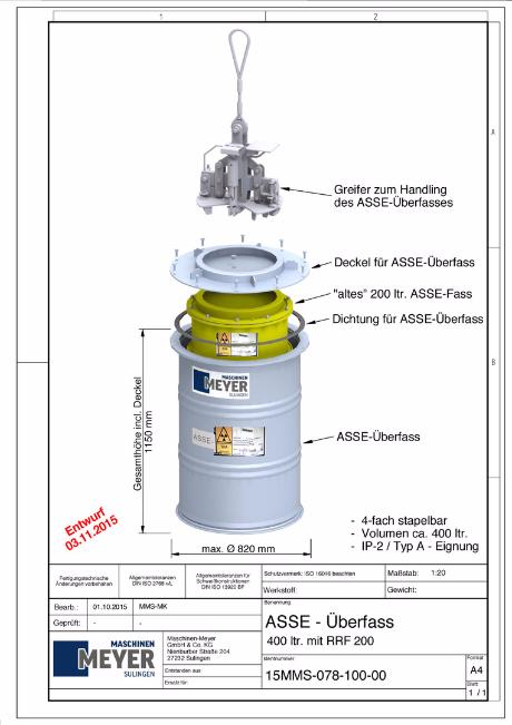 Maximaler Aussendurchmesser 820 mm und Gesamthöhe 1.150 mm / Asse Überfasser Vorschlag MMS, Goebel, BMUB