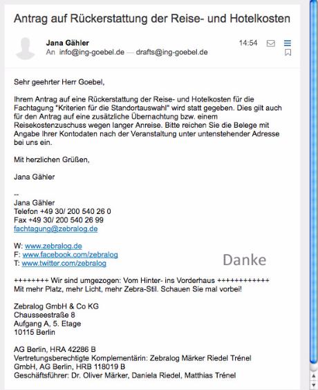 Frau Jana Gähler kann Reisekostenübernahmen zusichern ...