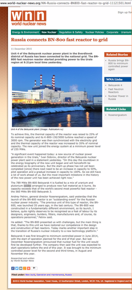 BN-800 fast neutrons reactor in World nuclear news article ...