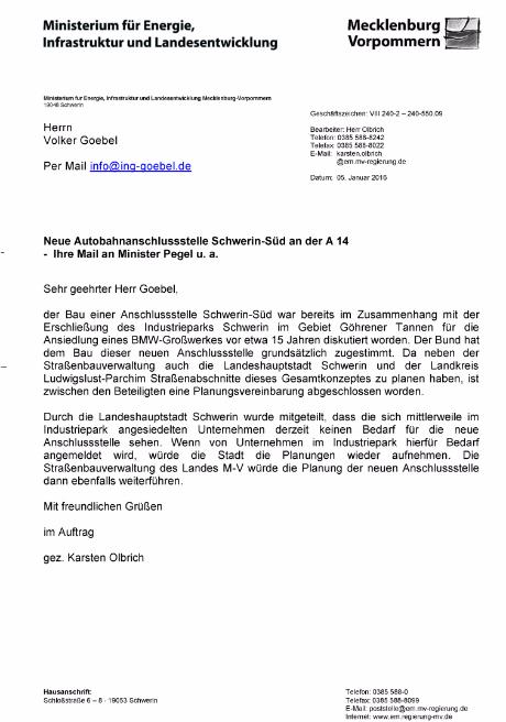 Hinweis an die Gewerbetreibenden und die Bevölkerung von Schwerin