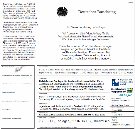 Schriftfeld Zeichnungen TTEL 2.0 Tiefst-Tunnel-Endlager Castoren im Tiefsalzkissen bei Gülze-Sumte M-V