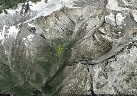Perspektivischer Blick auf den neuen Endlager Standort in den Glarner Alpen / Graubünden