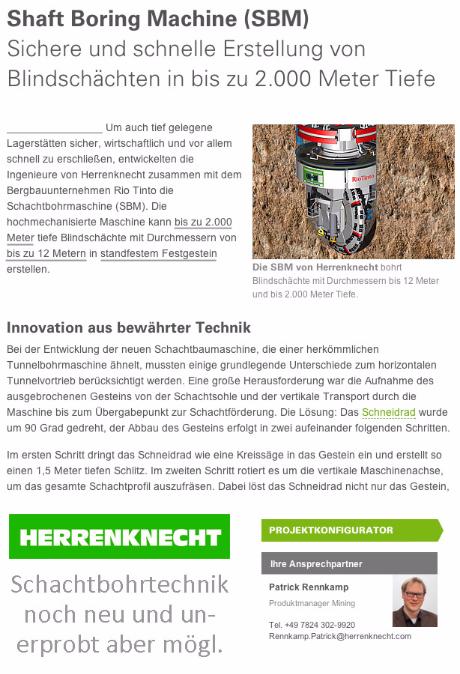 SBM Herrenknecht Endlagerbau Vertrieb Patrick Rennkamp Schacht Bohr Maschine