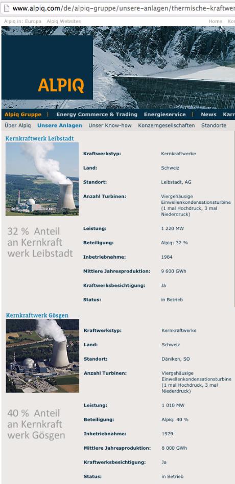 Endlager Hoch radioaktive Abfallstoffe Alpiq Lausanne / Mit- Verursacher