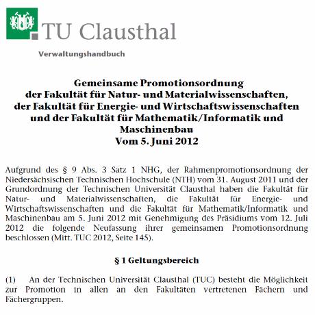 Promotionsordnung der TU Clausthal-Zellerfeld