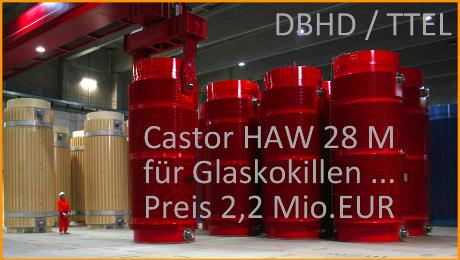 Castor DBHD und Castor TTEL Castor HAW 28 M fuer Kokillen aus WAA