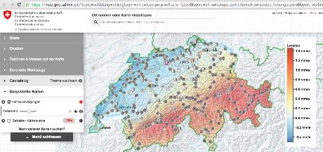 Geologische Karte Alpen-Hebung mit Messpunkten Quelle Admin.ch