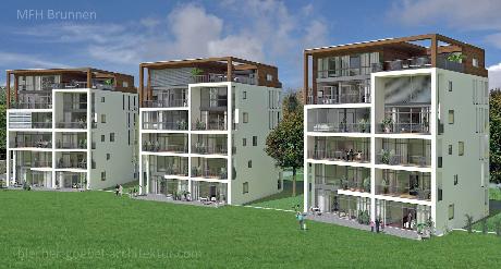 MFH Mehrfamilienhaus Brunnen Schwyz Schweiz - Nova Brunnen Innenstadt - Südseite - Volker Goebel Architekt Frank Blecher