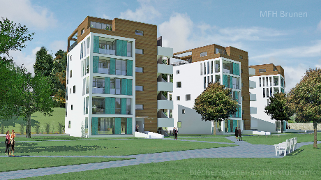 MFH Mehrfamilienhaus Brunnen Schwyz Schweiz - Nova Brunnen Innenstadt - Nordseite - Volker Goebel Architekt Frank Blecher