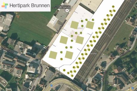 provisorischer Lageplan von Blecher Goebel Architekten für Areal NOVA Brunnen - Gelände totes Zementwerk Holcim Brunnen Innenstadt