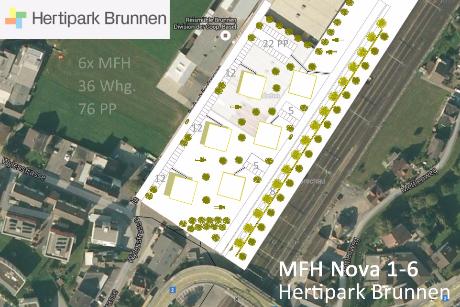 Lageplan 6x MFH Hertipark Brunnen Baueingabe Stockwerkeigentum Verkauf Miete