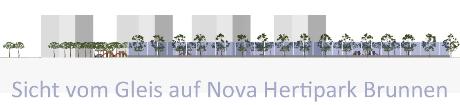 Sicht vom Gleis auf Nova Hertipark Brunnen