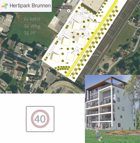 Tempo 40 Brunnen im Hertipark in Nova Brunnen - MFH Baugebiet - Stockwerkeigentum zu verkaufen Schweiz