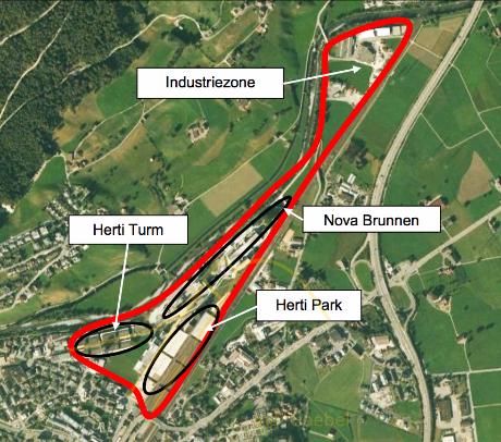 Übersichts Plan des Kantons Schwyz zu den Bauprojekt-Gebieten Brunnen Nord