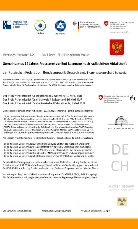 Vertrags-Entwurf 1.2 von 25 April 2016 Gemeinsames Endlager-Bau-Programm DE CH RU Письмо_предложение_программы Volker Goebel