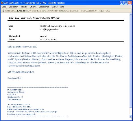 geologische Expertise Dr. Karsten Obst / LUNG MV BRD Standort GTKW suedlich Kroepelin MV BRD