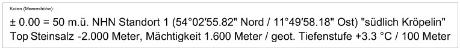 genauer Standort GTKW 5.3 suelich Kroepelin MV BRD in einer bekannten Tiefsalz-Schicht